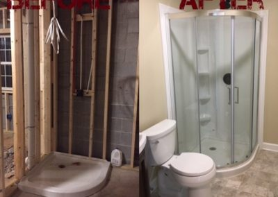 Before and After Man Cave Bathroom Addition